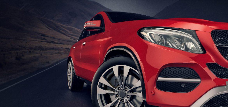 červené auto - detail svetla